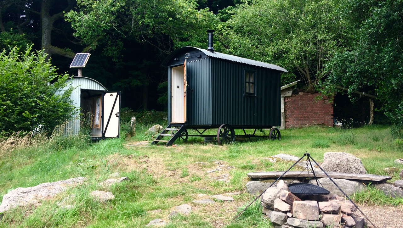 The Humble Hideaway Shepherds Hut and Lamp Hut - fire pit in foreground
