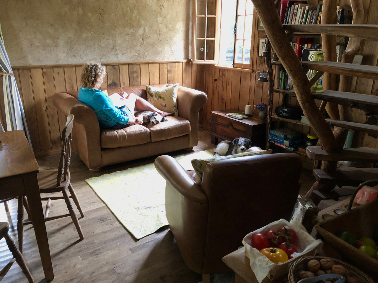 Sitting on the sofa at Poacher's Cabin